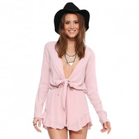 Pink Long Sleeve Deep V-neck Flounced Romper