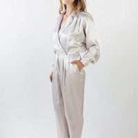 Vintage 80s Lilac Satin Jumpsuit with Tuxedo Collar | S