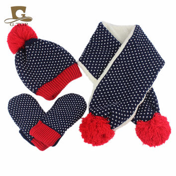 New kids children Knitted Hat Scarf  Gloves 3pcs winter set for boy and girls snowflake pattern