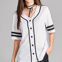 Wonen's Double Stripe Elbow Sleeve V- Neck Baseball Mesh T-Shirt Top