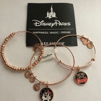 Disney Alex and Ani Minnie Bow Bracelet Rose Gold Finish Set of 3 New with Box
