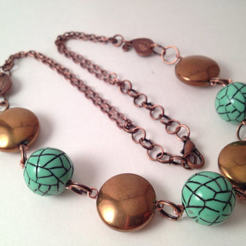 Teal and copper tone beaded necklace with paisley by MynisaUnique