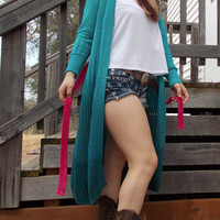 Dyed Ombre Turquoise Belted Knit Sweater - Hot Pink Dyed Belt - Perfect for Fall and SUper Cozy!