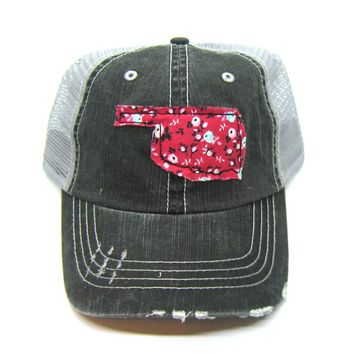 Oklahoma Hat - Black and Gray Distressed Trucker Hat - Red Floral Applique - All United States Available