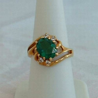 Emerald Green Rhinestone Ring 14K Rose Gold Plated 14K HGE Size 8 Designer Mark