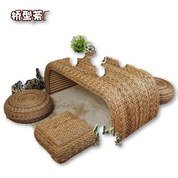 100% natural rattan from garden of pure handmade furniture sets, table, stool, living room furniture(1+4)