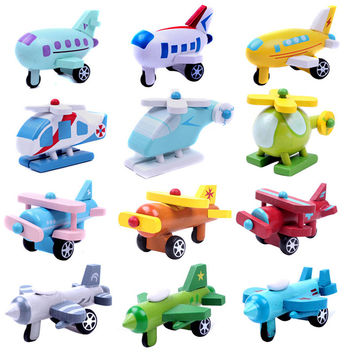 Wooden Airplane Multi-pattern Creative Toys Mini Airplane Kids Baby Educational Toys Children Birthday Christmas Gift