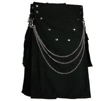 STYLISH BLACK CUSTOM UTILITY KILT WITH CHROME CHAIN