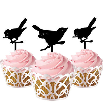 6 pcs in one set birds CupCake toppers for party decor, animal cupcake toppers acrylic,  topper for birthday, kids birthday cake decor