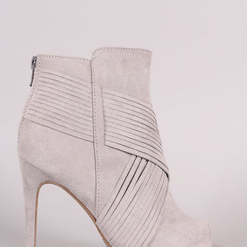 Qupid Suede Crisscross Slashed Stiletto Booties