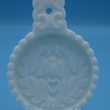 Imperial Glass Colonial Eagle Spoon Rest Vintage White Milk Glass Trivet Wedding Decor Gift for Her 1950s White Milk Glass Collectible
