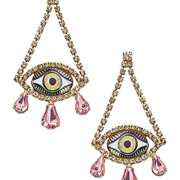 Janis By Janis Savitt Gold Eye With Clear And Light Rose Crystal Chandelier Earrings