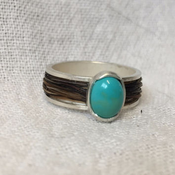 Sterling Silver Ring with Horse Hair & Turquoise