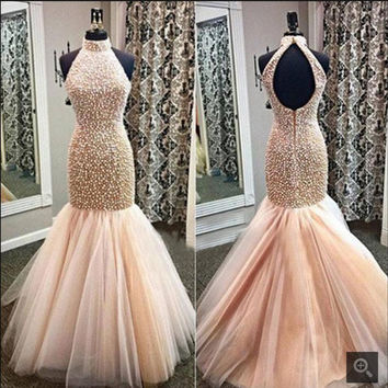 Fully Beaded Halter Mermaid Prom Dresses 2017 Luxury Champagne Tulle Formal prom Gowns Keyhole Back prom dress hot sale
