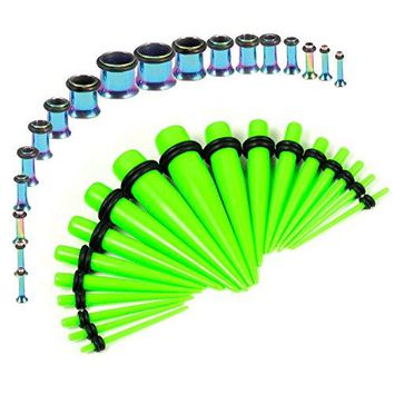BodyJ4You Gauges Kit Neon Green Tapers Rainbow Plugs Steel 14G-00G Stretching Set 36 Pieces
