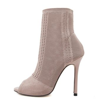 Women Boots Fashion Europe Knitting Peep Toe Socks Bootie Hollow Thin High Heels Boots Ankle Bootie Sapatos