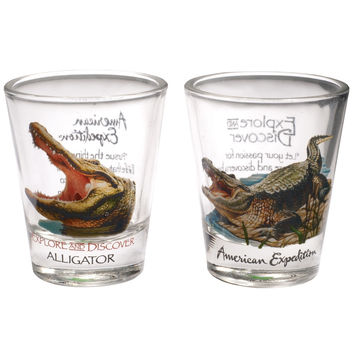 Two Piece Alligator Shot Glass Set