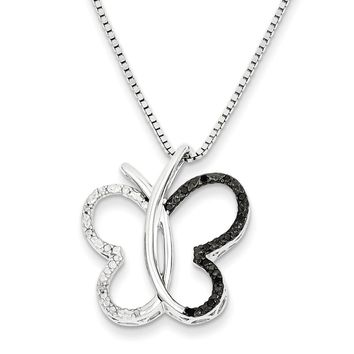 Black & White Diamond Open Butterfly Necklace in Sterling Silver