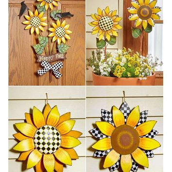 Sunflower Themed Decor Wall Hanging Garden Stakes Yard Porch Country Colorful