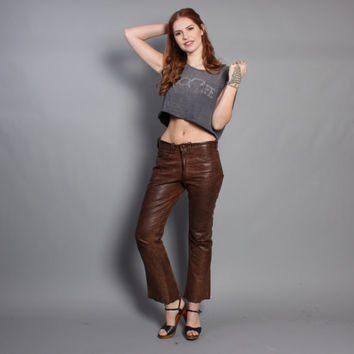 60s East West LEATHER PANTS / Dark Brown Hip Hugger Bell Bottoms, xs-s