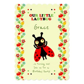 Little ladybug baby first birthday party card