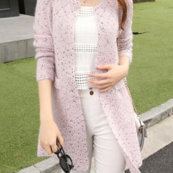 Light Pink Cut Out Long Sleeve Cardigan