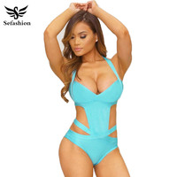 2016 Europe New Sexy One Piece Swimsuit Plus Size Swimwear Women Bandage Monokini Swimsuit Bathing Suit Swim Wear Black White