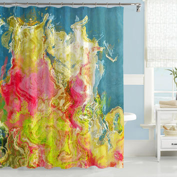 Abstract shower curtain, hot pink, green and blue contemporary shower curtain from original Aria