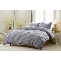 PINCH PLEAT DESIGN GRAY DUVET COVER SET STYLE # 1006 - CHERRY HILL COLLECTION