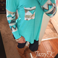Mint Sequin Aztec Top