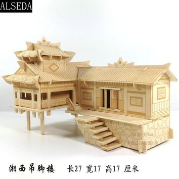 wooden 3D building model toy gift puzzle hand work assemble game Chinese woodcraft construction kit xiangxi house on stilts set