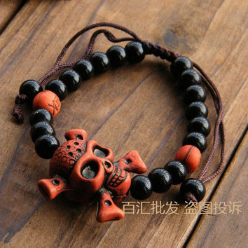 Bracelets and bracelet pirate skull beads bracelet for men and women lovers Halloween decoration gifts
