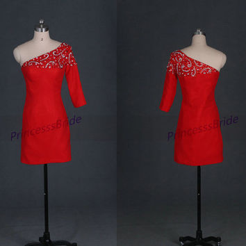 Short red satin homecoming dresses with rhinestones,cheap unique prom dresses under 150,2014 one shoulder women gowns for party.