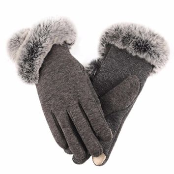 FEITONG Fashion Glove For Women Lady Winter Super Warm Leather Driving Soft Lining Gloves Mitten Elegant Smartphone Touch gloves