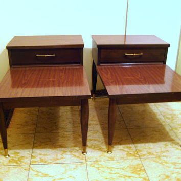 Mid Century, Mersman, Dark, Wood, Step, Drawer, End, Side, Table, Retro, Living, Family, Room, Chic, Two Tier, Set, Pair, Formica, Furniture