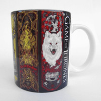 Game of Thrones Mug, mug gift, Winter is Coming, Houses mottos symbols, Baratheon, Greyjoy,  Martell, Stark, Tully, Tyrell