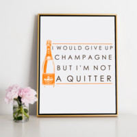 Never Give Up Champagne Canvas