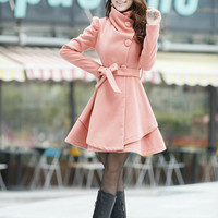 4 colors women's Princess style cape dress Coat jacket with belt Apring autumn winter coat  jacket cute coat dy43 M-XXL