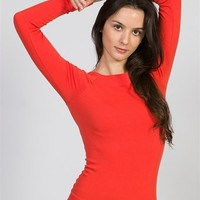 Square Neck-lined Long Sleeve Top - Rust at Lucky 21