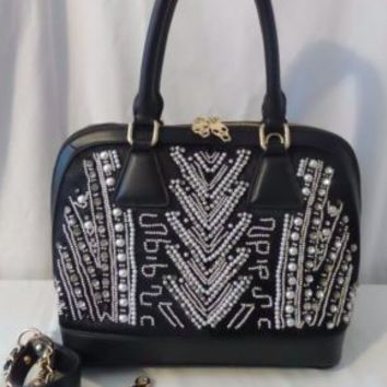 Stella Young Black Rhinestone Satchel/Crossbody Elegant Bag