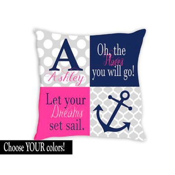 Nautical Nursery PILLOW Nautical Nursery Decor Girl Nursery Pink Navy Sailboat Anchor Oh The Places You'll Go Let Your Dreams Set Sail 14x14