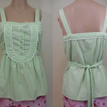 """90's, Anthroplogie's """"Odille"""" Brand, Made in USA, Buttoned Bib Front, Self-Belted Camisole, Green & Navy Stripes, Spring, Summer, Size 4"""
