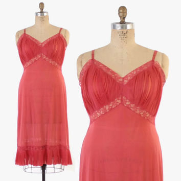 Vintage 50s SLIP / 1950s Dark Coral Pink Crystal Pleat Vanity fair Slip L - XL 40