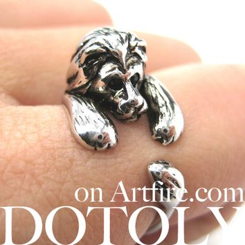 Realistic Lion Animal Wrap Around Ring in Shiny Silver - Sizes 4 to 9 Available