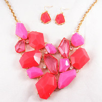 Hot pink Water Drop Bubble Necklace Set, Rhinestone Statement Necklace  Bib necklace, Drop Earring, wedding bridesmaid  Fashion trends