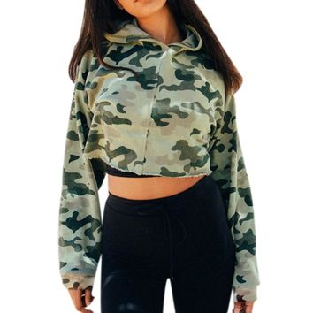 Camouflage Camo Long Sleeve Pullover Crop Hoodie For Women