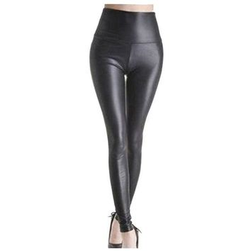 PEAPON Shiny Metallic High Waist Black Stretchy Leather Leggings