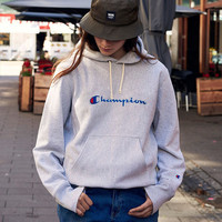 Champion Fashion Drawstring Embroidery Long Sleeve Top Sweater Pullover Hoodie