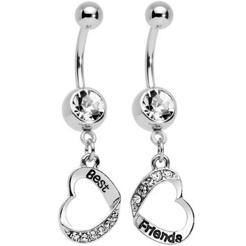 Clear Gem Best and Friends Matching Heart Dangle Belly Ring Set