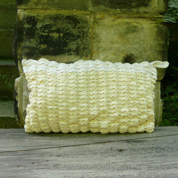 Shell Clutch Purse - Crochet Ecru